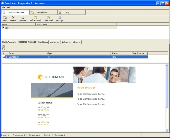 Email Autoresponder Main Window